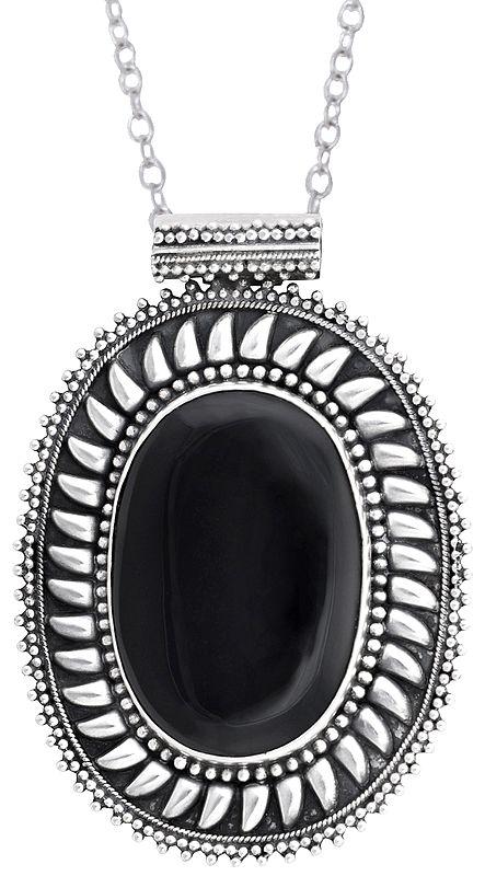 Large Gemstone Studded Sterling Silver Pendant