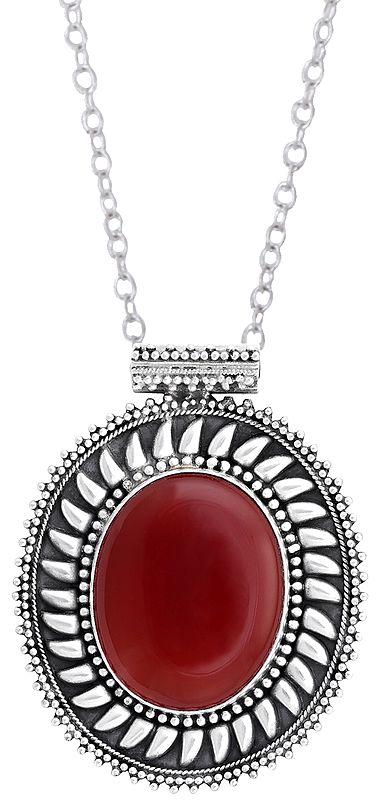 Oval Shaped Gemstone Studded Sterling Silver Pendant