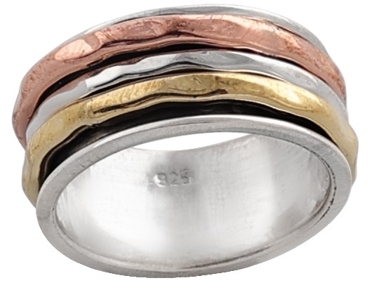 Three Tone Meditation Spinner Ring Made in Sterling Silver