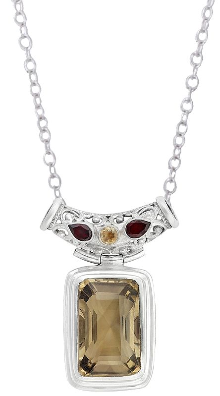 Sterling Silver Pendant Studded with Yellow Topaz and Garnet Stone