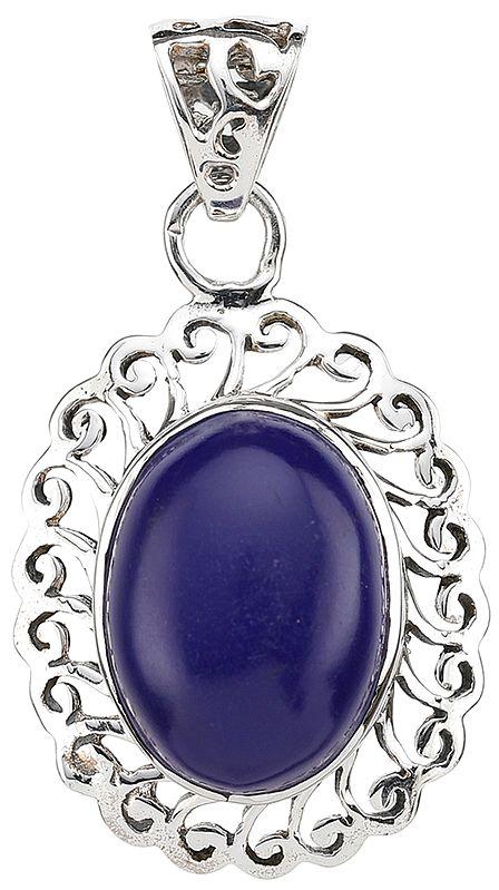 Oval Pendant of Lapis Lazuli with Lattice Border
