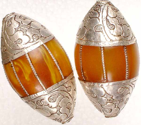 Amber Dust Beads with Sterling Caps and Incisions