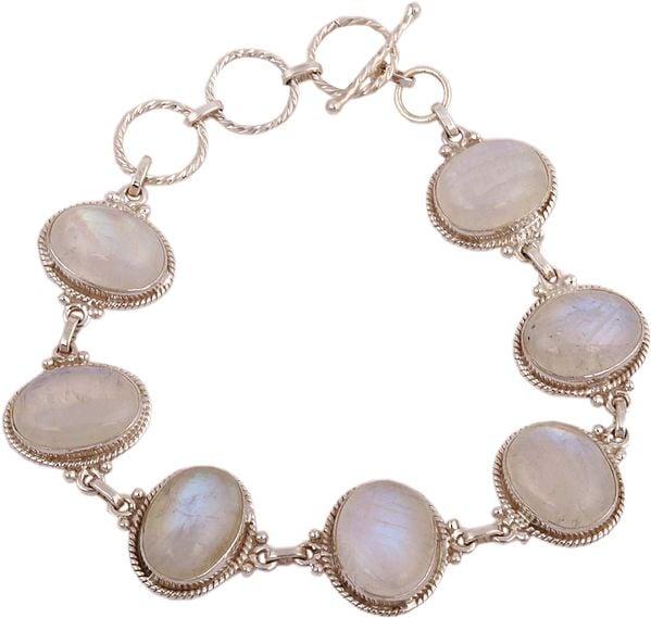 Cabochon Bracelet Embellished with Rainbow Moonstones