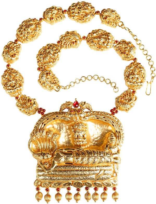 Shri Padmanabha Necklace with the String of Lakshmi Ji (South Indian Temple Jewelry)