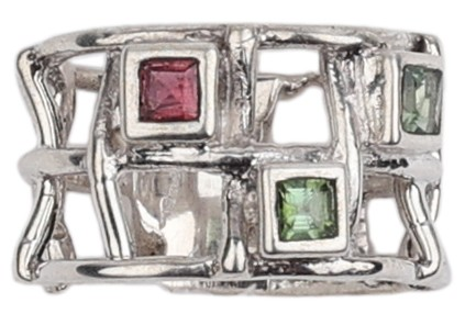 Sterling Silver Ring Studded With Tourmaline Stones