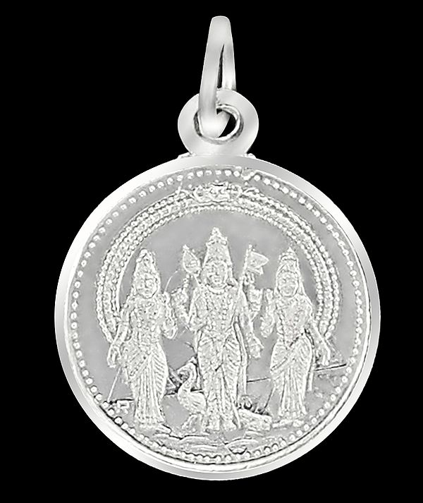 Warrior God Karttikeya With Devasena And Valli Pendant