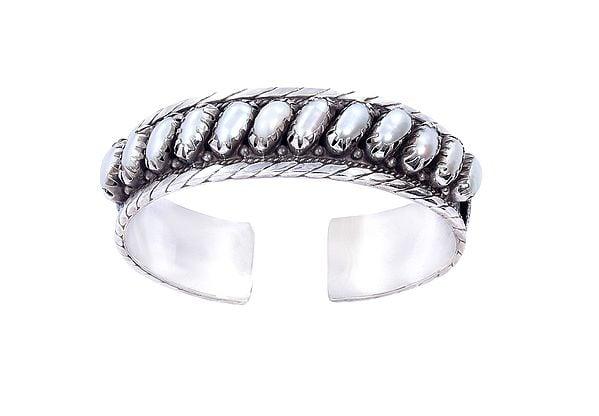 White-pearl Studded Sterling Silver Bracelet