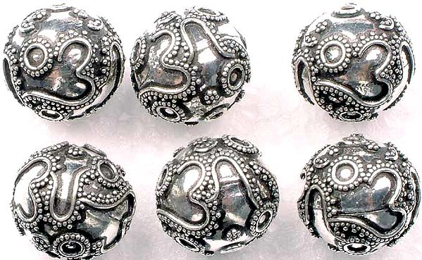 Sterling Om Beads (Price per Four Pieces)