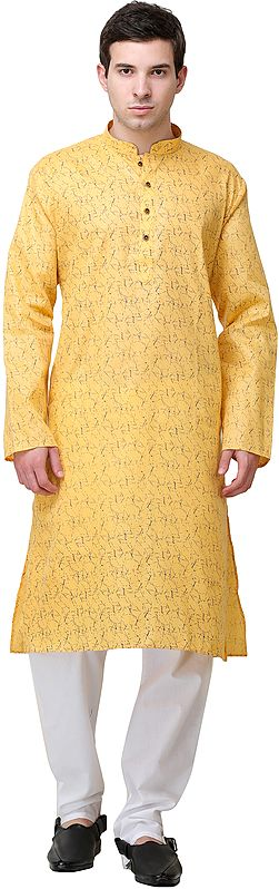 Sunset-Gold Printed Kurta with White Pajama Set