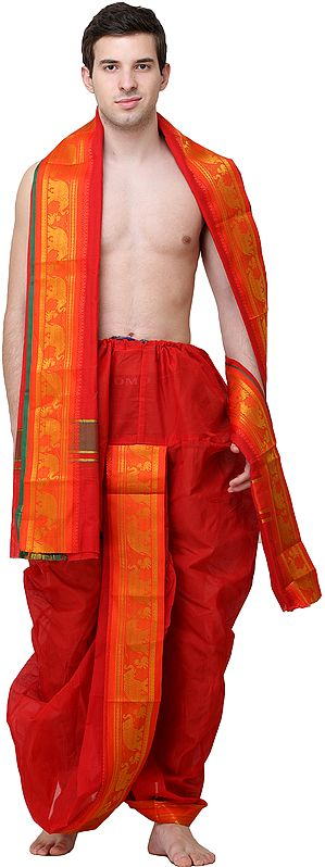 Poppy-Red Ready to Wear Dhoti and Angavastram Set with Zari Woven Elephants on Border