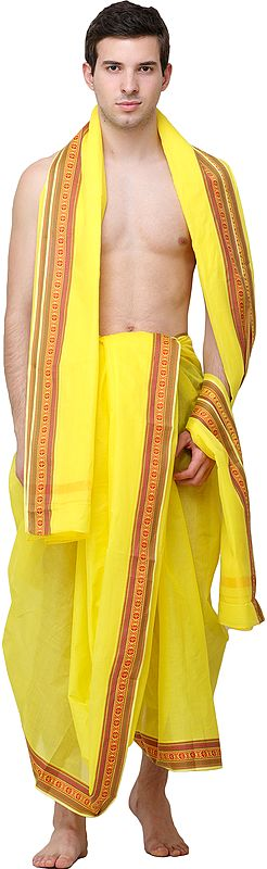 Buttercup Dhoti and Angavastram Set with Woven Floral Border in Multicolor Thread