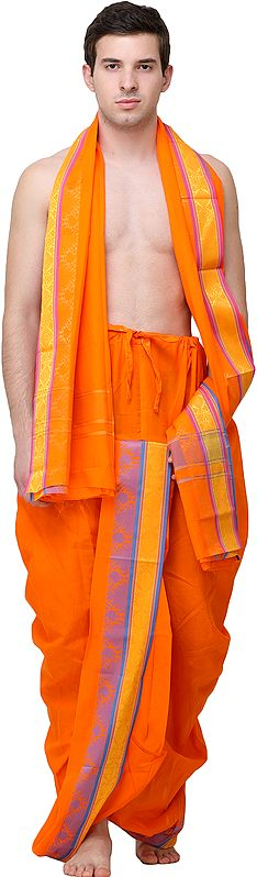 Vibrant-Orange Dhoti and Angavastram Set with Woven Bootis on Border in Multicolor Thread