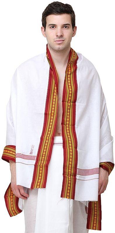 Plain Angavastram with Multicolored Thread Woven Border