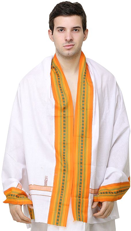 Plain Angavastram with Multicolored Thread Woven Border