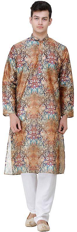 Partridge-Brown Wedding Kurta Pajama Set with Oriental Print