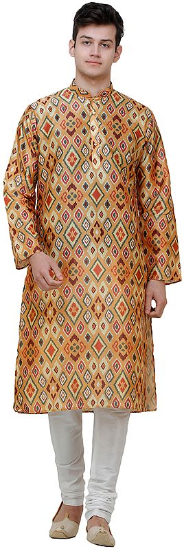 Spruce-Yellow Kurta Pajama Set with Ikat Print