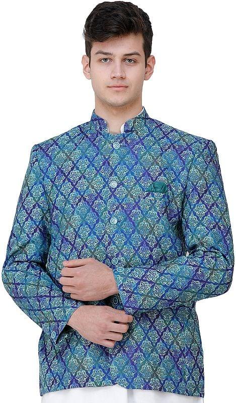Clematis-Blue Blazer with Printed Mughal Motifs
