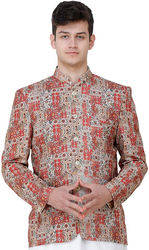 Tandori-Spice Wedding Blazer with Oriental Print