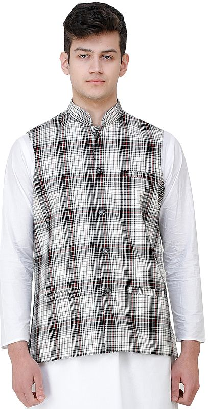 Black and White Waistcoat with Woven Checks and Front Pockets