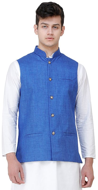 Casual Waistcoat with Zero Checks in Weave and Front Pockets