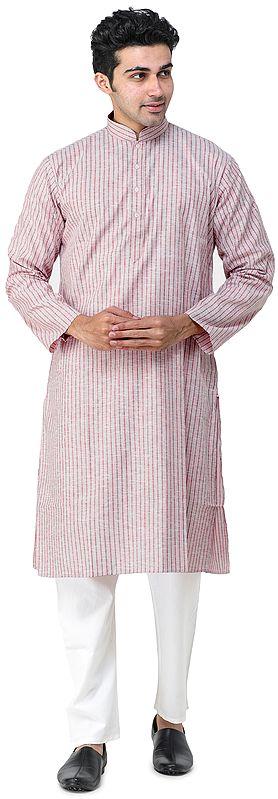 Mauvewood Casual Kurta Pajama Set with Woven Stripes