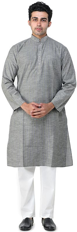 Martini-Olive Casual Kurta Pajama Set with Woven Stripes