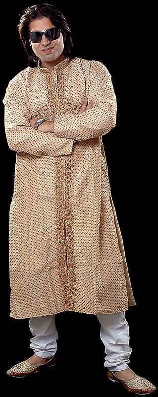 Beige Achkan with Jaal Embroidery and Beadwork