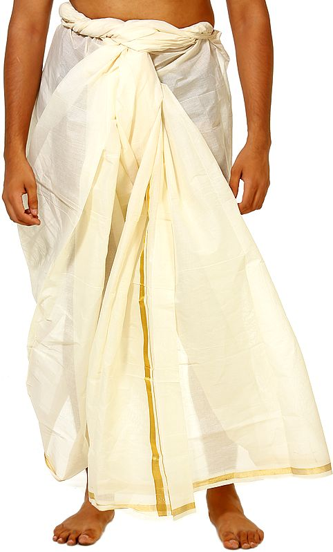 Cream Dhoti from Kerala with Golden Thread Weave on Border