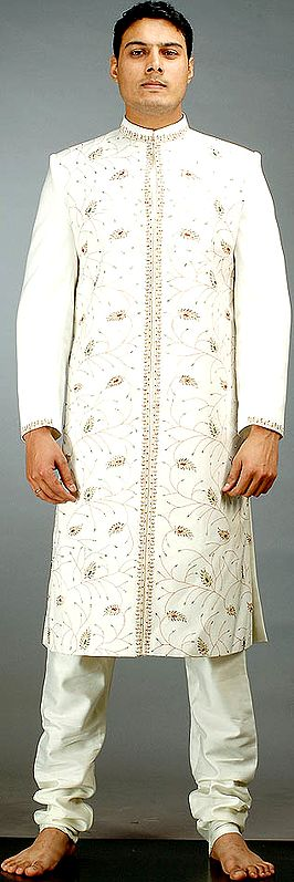 Ivory Sherwani with All-Over Paisleys and Embroidery