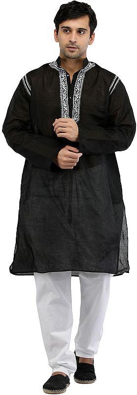 Phantom-Black Kurta Pajama with Lucknawi Chikan Embroidery on Neck