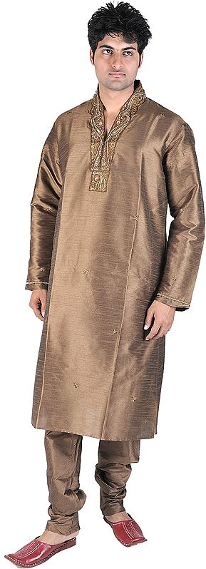 Cocoa-Brown Designer Kurta Pajama with Embroidered Beads and Sequins on Neck