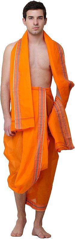 Plain Dhoti and Angavastram Set with Woven Border