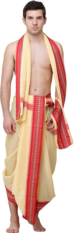 Dhoti and Veshti Set with Temple Border