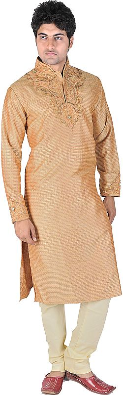 Fawn Designer Kurta Pajama with Embroidered Beads and Sequins on Neck