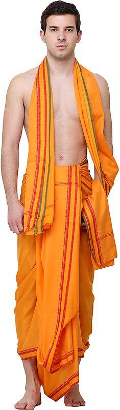 Plain Dhoti and Angavastram Set with Golden Thread Weave on Border
