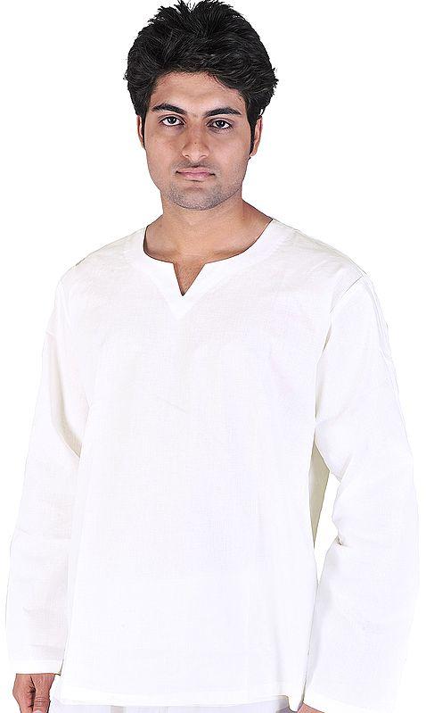 Plain White V-Neck Short Kurta Top