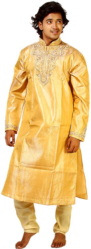 Golden-Apricot Wedding Kurta Pajama with Crystals and Beads Embroidered on Neck