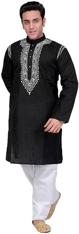 Black Kurta Pajama with Lucknavi Embroidery on Neck
