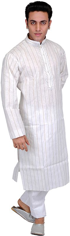 Off-White Kurta Pajama with Woven Stripes and Thread Embroidery on Neck