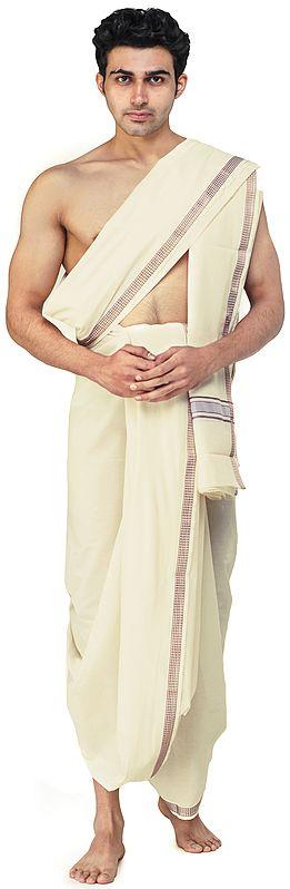 Dhoti and Angavastram Set with Woven Border