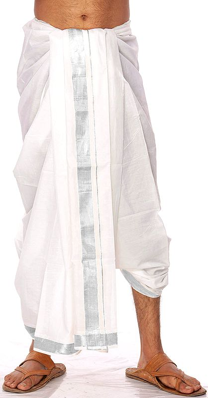 White Kasavu Dhoti from Kerala with Wide Silver Woven Border