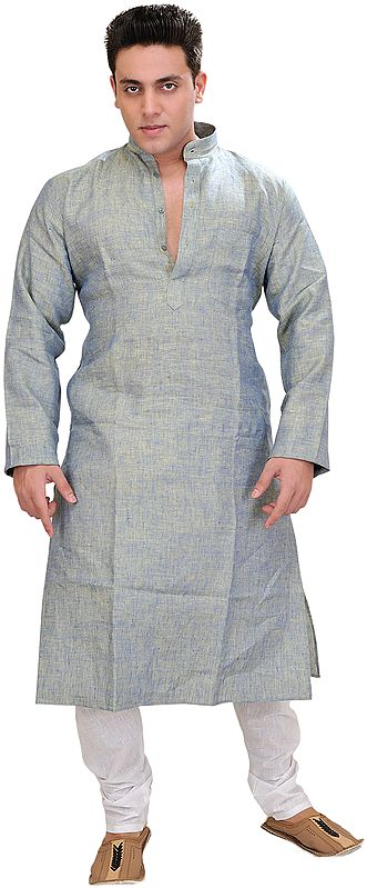 Plain Pure Linen Kurta with White Pajama Set