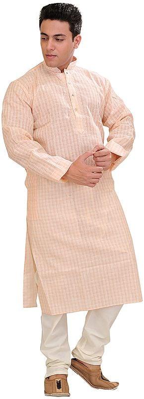 Kurta Pajama Set with Woven Checks and Embroidery on Neck
