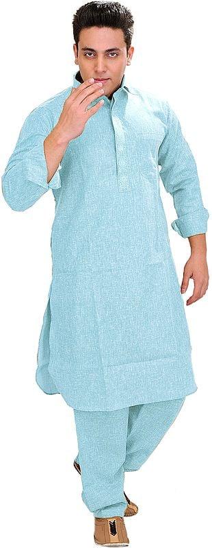Plain Pathani Kurta Salwar with Thread Embroidery on Neck