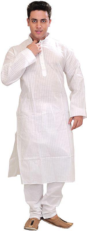 Bright-White Kurta Pajama with Woven Stripes