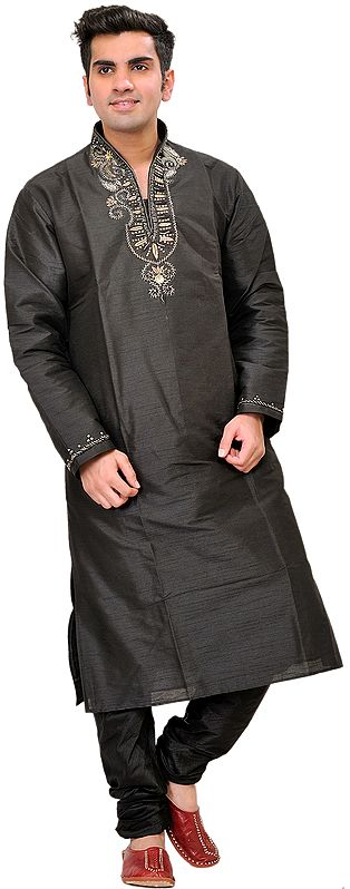 Black Wedding Kurta Pajama with Beads-Embroidered on Neck