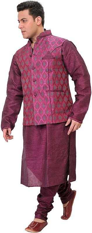 Raspberry-Radiance Three Piece Kurta Set from Bhagalpur with Jacquard-woven Waistcoat