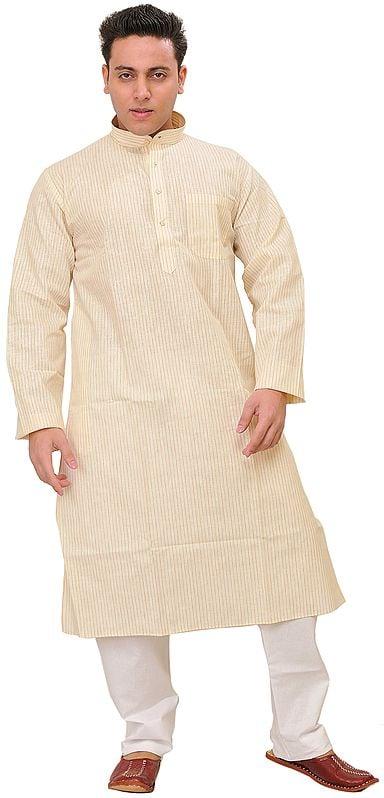 Kurta Pajama with All-Over Woven Stripes