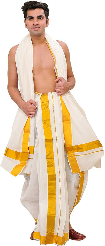 Snow-White Dhoti and Veshti Set from Kerala with Wide Golden Border