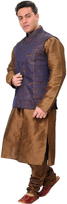 Sepia-Colored Three Piece Wedding Kurta Pajama Set with Brocaded Waistcoat